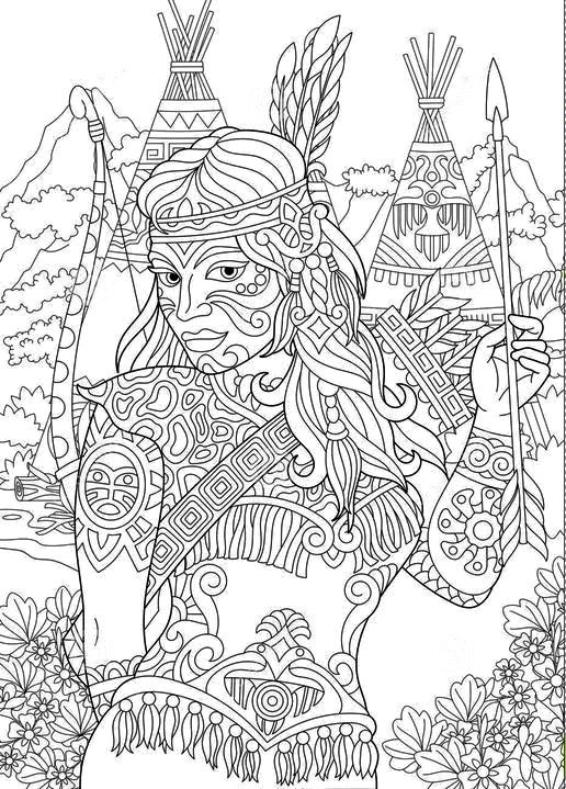 Native American Indian Woman Coloring Page Navajo Ethnicity