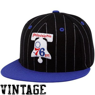 Mitchell & Ness Philadelphia 76ers Black-Royal Blue Pinstripe Vintage Logo Fitted Hat