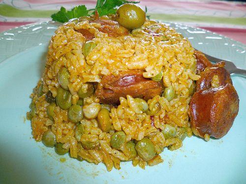 Arroz con Gandules y Chorizo (Rice with Green Pigeon Peas + Spanish Sausage) - Hispanic Kitchen
