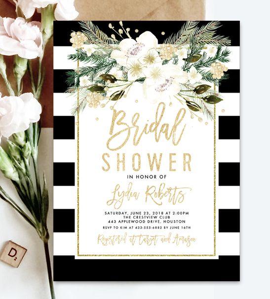 Free Editable Bridal Shower Invitation Template Black White