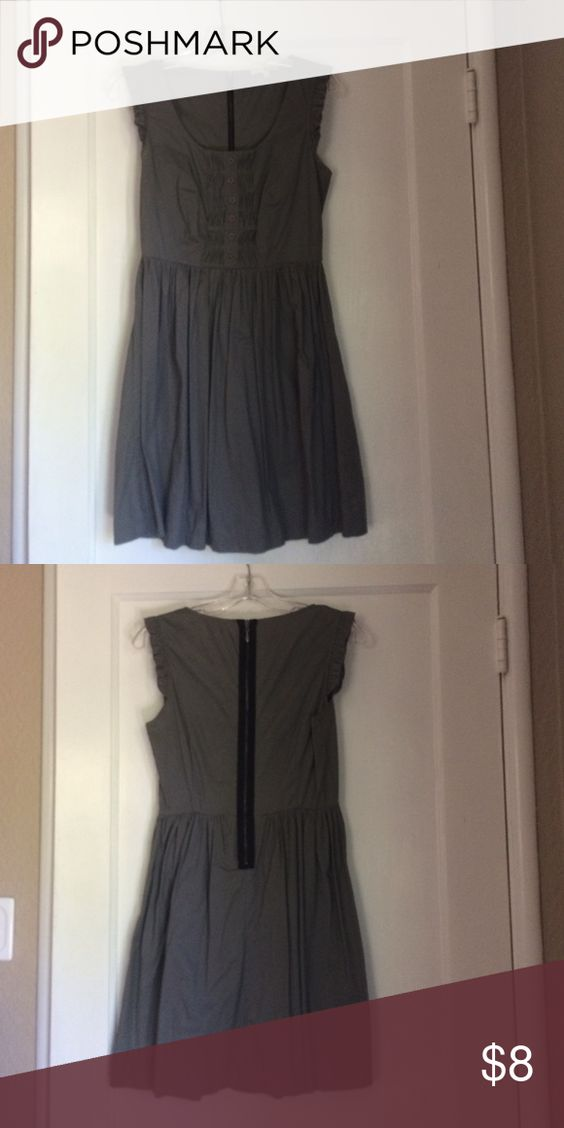 Dark grey dress with pleats Mid thigh dress with black zipper in back, nicely fitted on top, slight flare at bottom. 97% cotton, 3% spandex BeBop Dresses Mini