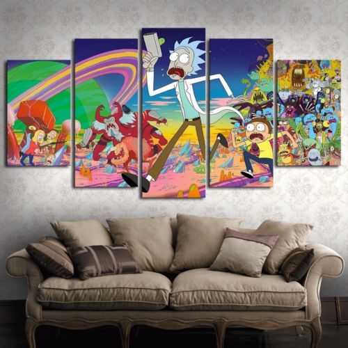 Modern Frameless Wall Art Pictures Room Hanging.Painting Cartoon Home Decor