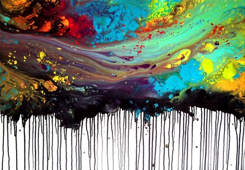 Art & Color. I've always known I'm a right brainer. This abstract piece draws me in because of how the colors blend and flow together. When I paint, I like to paint like this, where I can physically manipulate the paints and watch them blur.