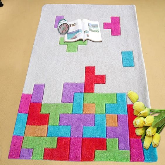Game Area Rugs: Happy Games Theme Tetris Area Rug