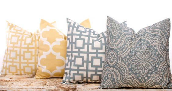 SALE ENDS SOON Yellow Pillow Covers Gray Pillows by LilyPillow