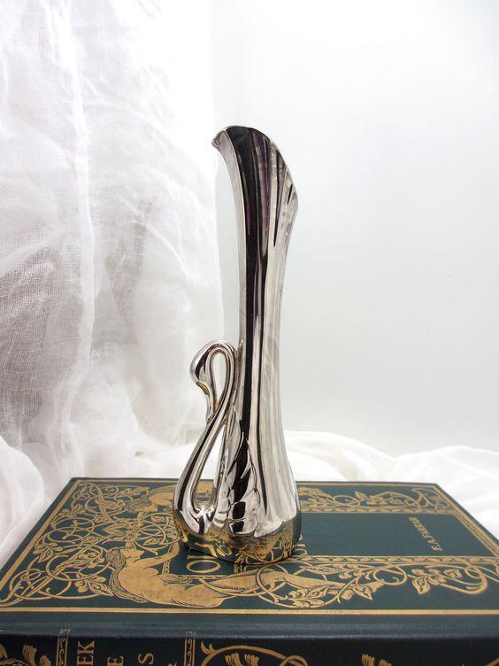 vintage brass swan bud vase