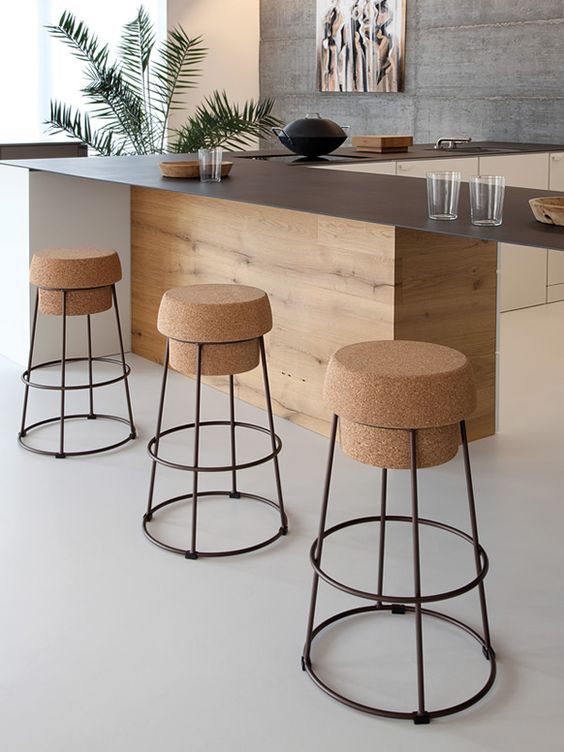 Andrea Radice and Folco Orlandini; Cork and Powder-Coated Steel Bouchon Barstool for Domitalia, 2013.: