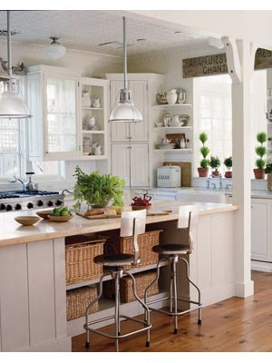 White and Natural wood color kitchen, so relaxing and cozy