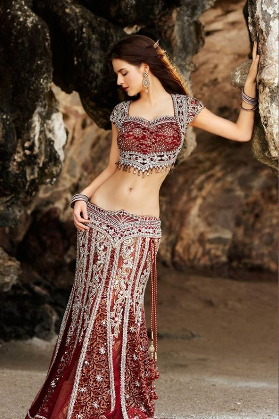 Seasons India Collection - deep red and silver