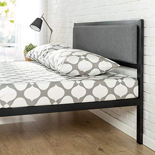 Zinus 14 Inch Platform Metal Bed Frame With Upholstered Headboard