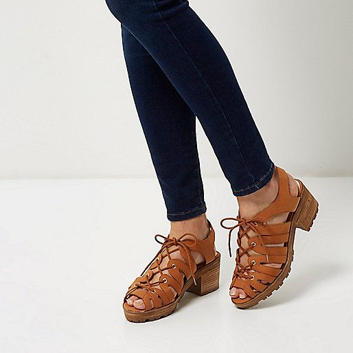Brown lace-up chunky mid heel sandals - mid heels - shoes / boots