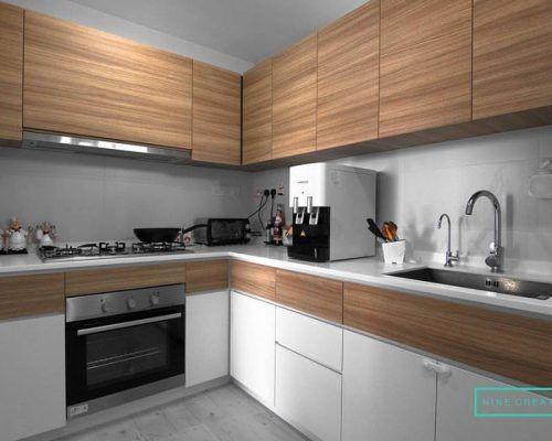 Top Woodgrain Kitchen Cabinets And Bottom White Cabinets Kitchen Kitchen Cabinets Classic House