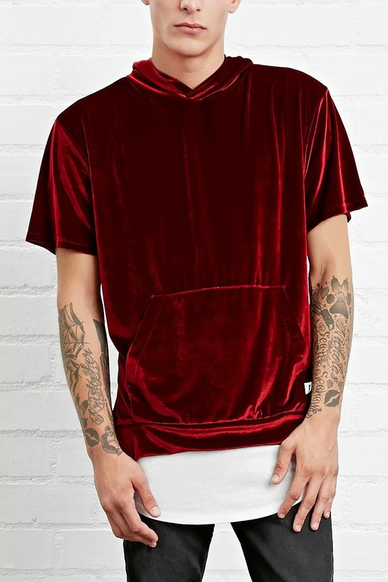A velour tee by EPTM.™ featuring a hood, front kangaroo pocket, and short sleeves. #forever21men: