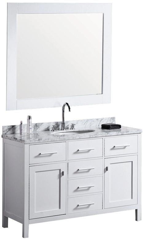 London 48 marble white single sink vanity for Master bathroom vanity single sink