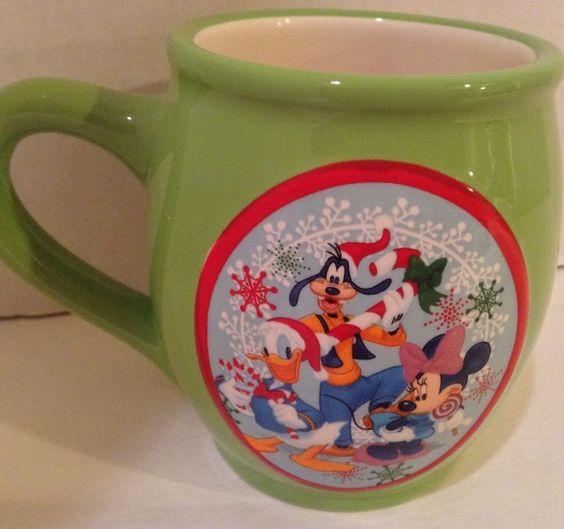 Disney Mickey Mouse Christmas Mug featuring Mickey Goofy Minnie & Donald - #Christmas #Disney #Collectibles #eBay