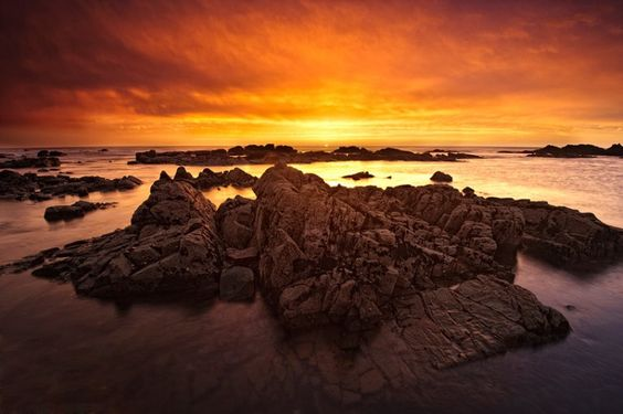 Fiery sunset on the Western Coast of Morocco