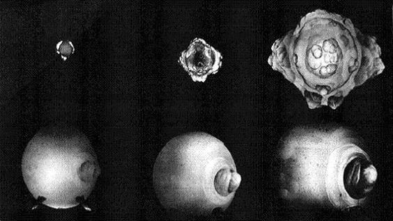The first few milliseconds of a nuclear explosion. Captured with a rapatronic camera.