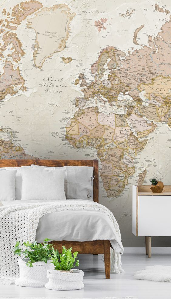 World Map Wallpaper Wallsauce Wallsauce Uk In 2020 World Map Wallpaper World Map Bedroom Bedroom Wallpaper World Map