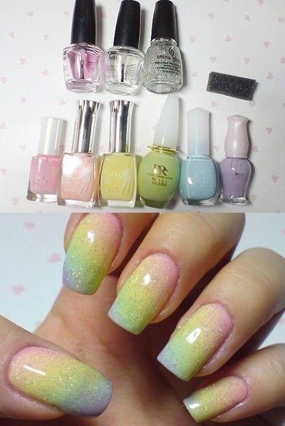 pastel rainbow! Ok, so I have a problem, whenever I try and do ombré nails using the sponge technique, little pieces of the sponge come off before I get even half as dark as I'm wanting it to be.....anyone know what I'm doing wrong??? And if so, pleaaase comment and let me kno???