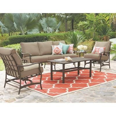 home decorators collection gabriel bronze 4 piece espresso patio deep seating set with beige cushions