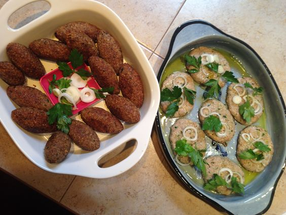 Comida árabe. Kipe bola y kipe crudo
