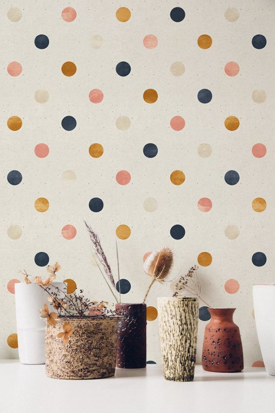 Peel And Stick Wallpaper With Polka Dot Pattern Removable Wallpaper For Nursery Boho Nursery Wallpaper Scandi Nursery Wfl080 Peel And Stick Wallpaper Nursery Wallpaper Removable Wallpaper