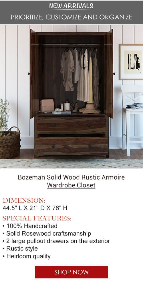 Bozeman Rustic Solid Wood Wardrobe Large Armoire With Drawers Armarios Ropero Muebles