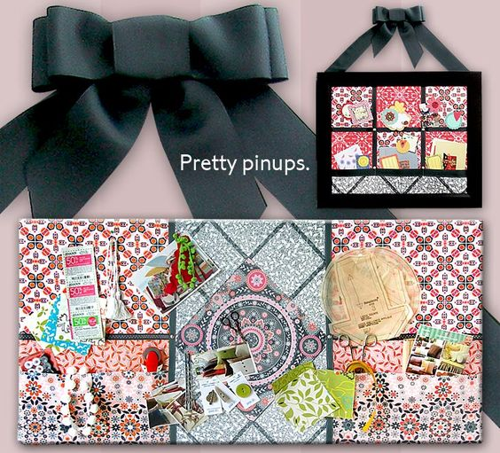 Fabric-wrapped pinboards in two sizes. Both include handy pockets.