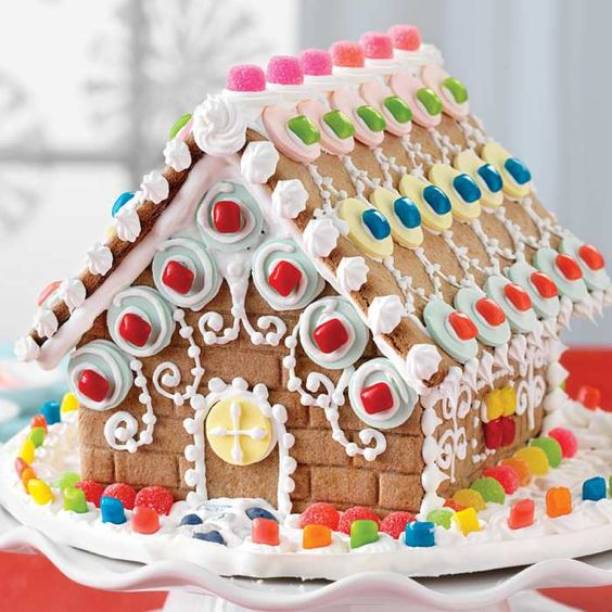 Colorful candy decorated gingerbread house