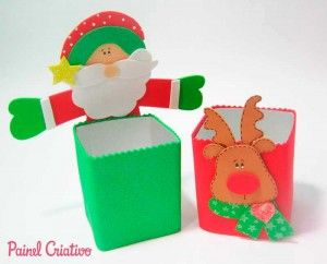 caixas de leite decoradas (EVA com moldes): Christmas Crafts, Christmas Ideas, Christmas Decorations, De Eva