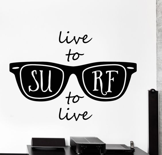 Vinyl wall decal quote live to surf surfing ocean sun glasses home decor z4491