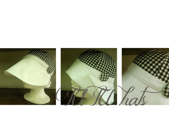 Women Hat for sun plaid black and white cotton from TUTUHandmadeHats by DaWanda.com
