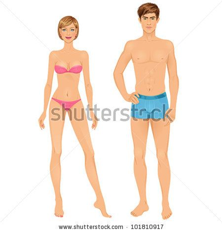 paper doll template woman - paper dolls young woman and guy in underwear body