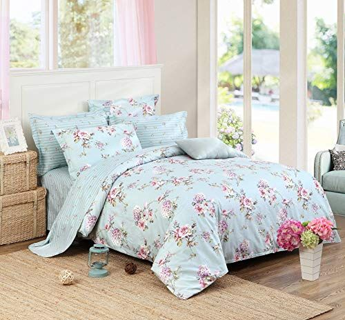 Fadfay Elegant Duvet Cover Sheet Set Blue Green Hydrangea Floral