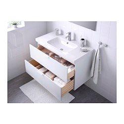 IKEA - GODMORGON / ODENSVIK, Waschbeckenschrank/2 Schubl., weiß, , Inklusive 10 Jahre Garantie. Mehr darüber in der Garantiebroschüre.Leicht laufende, sanft schließende Schubladen mit Ausziehsperre.Die Fächergröße ist durch Versetzen der Trennstege leicht zu verändern.Voll ausziehbar für leichten Zugriff und guten Überblick über den Inhalt.Schubladen aus massivem Holz, Böden aus kratzfestem Melamin.Der beigepackte Siphon kann problemlos an Abfluss, Waschmaschine und Trockner angeschlossen…
