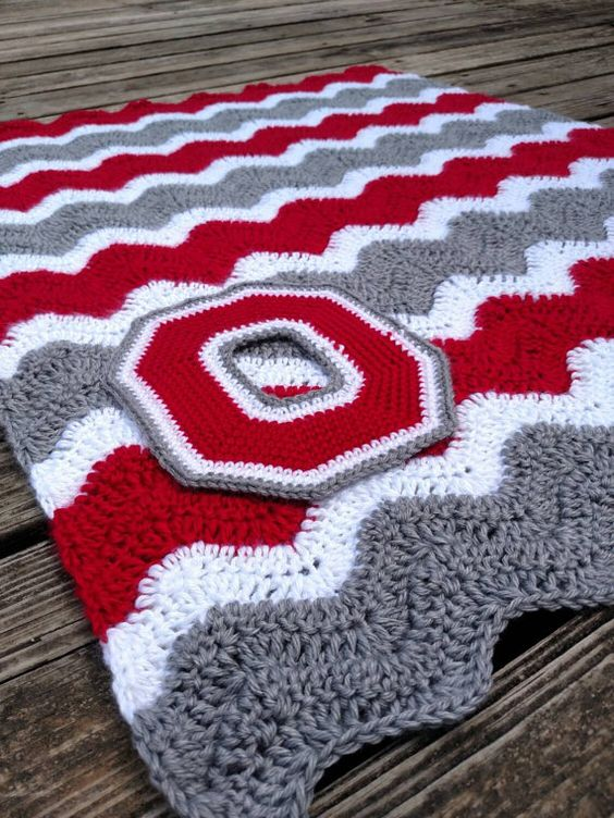Ohio State Crochet Chevron Blanket with Crocheted Block O ...
