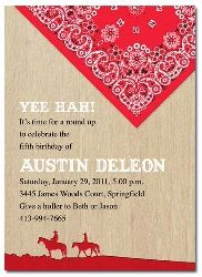 Western theme birthday invitation with red bandana and horses