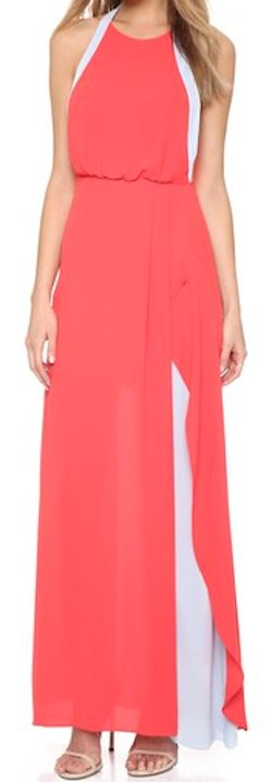 poppy pink color block maxi dress