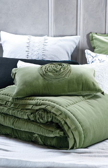 Rich Forest Green Velvet Comforter And Cushion. Also