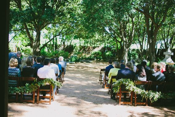 Perfect example of how little additional decor an outdoor ceremony needs!   Photography: Amber Vickery Photography - www.ambervickeryphotography.com  Read More: http://www.stylemepretty.com/2014/03/24/cozy-and-romantic-fredericksburg-tx-brunch-wedding/