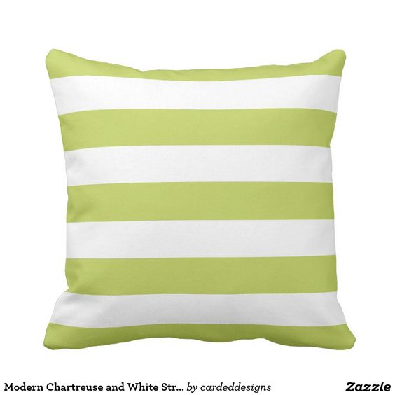 Modern Chartreuse and White Stripes Outdoor Pillow