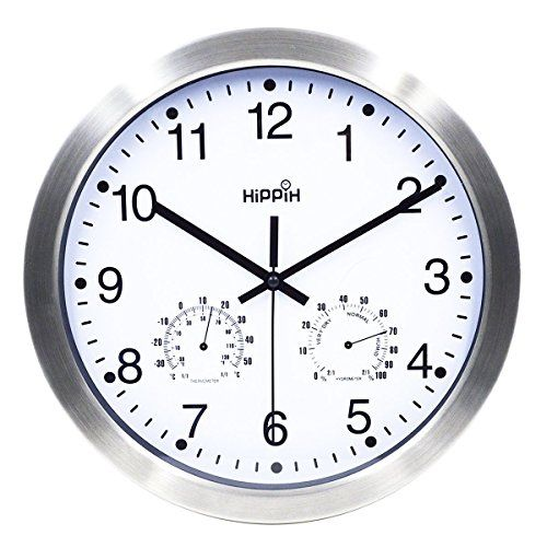 Hippih 12 Inch Silent Non Ticking Wall Clock Metal Frame Glass Cover Totalclearance Net Clearance On Men S Clothings Furniture Electronics Home Decorat Metal Wall Clock Wall Clock Clock