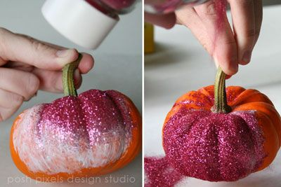 Glitter Pumpkins--would love to do these for the centerpieces, with a gold/champagne glitter