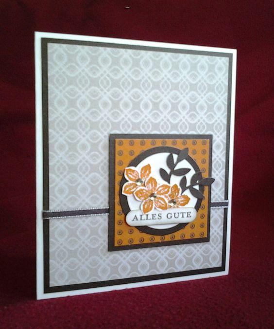 Stampin Up Petite Petals Sommermorgen Vogelstanze Saharasand Kürbisgelb Espresso