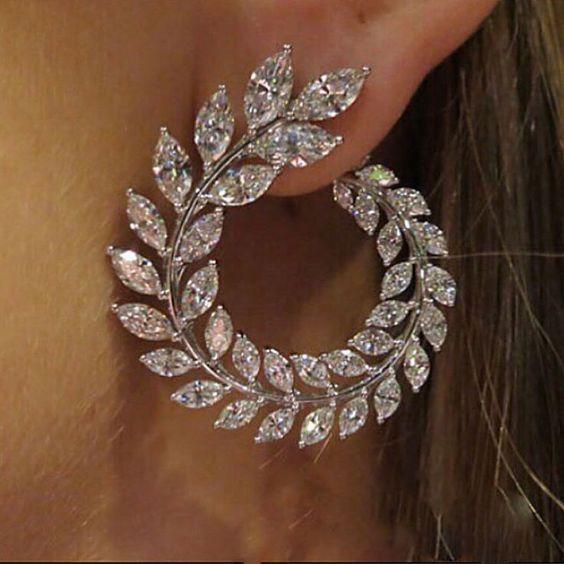 Trigo de Oliveira ramo de luxo Simular Diamante Engajamento Stud Brinco Temporada de Primavera #