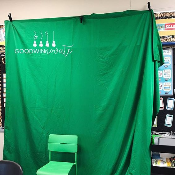 We Love Our Green Screen 9 X 15 Foot Cloth Only 29 99 From Amazon That Hangs On An Ikea Wire For Our Bigger Green Screen Projects Standing On The Green Chair