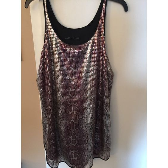 Zara Snakeskin Sequin Dress Fun slip dress. Snake skin pattern, sequins with silky lining. Zara Dresses