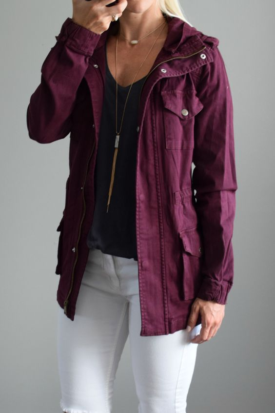 Love the color  September 2016 Stitch Fix Review: Tinsel Chapleen Cargo Jacket |www.pearlsandsportsbras.com|