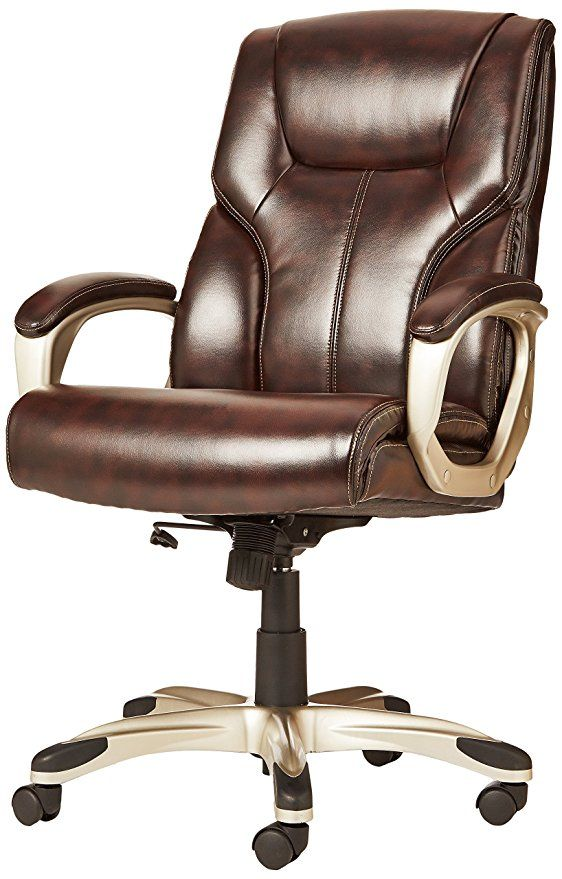Amazon Com Amazonbasics High Back Executive Chair Brown Kitchen Dining Office Chair Chair Office Desk Chair