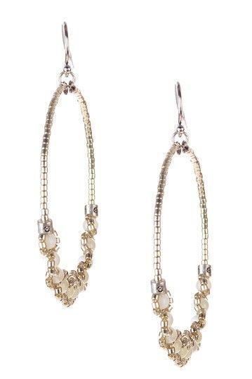 White Mother of Pearl Beaded Hoop Earrings
